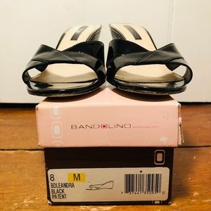 Bandolino Black Patent Leather Sandals/Slides